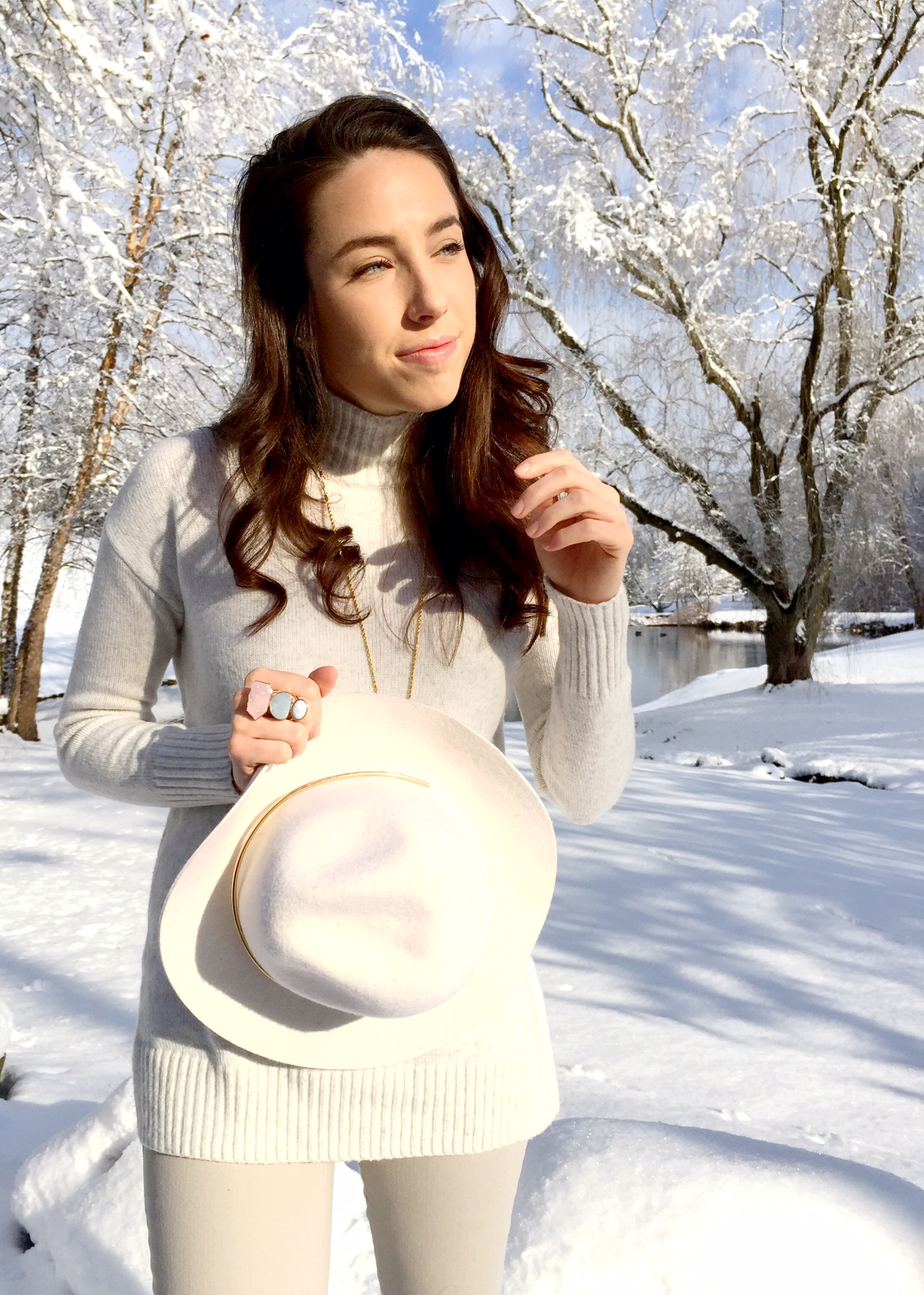 winter white and floppy hat | outfit idea