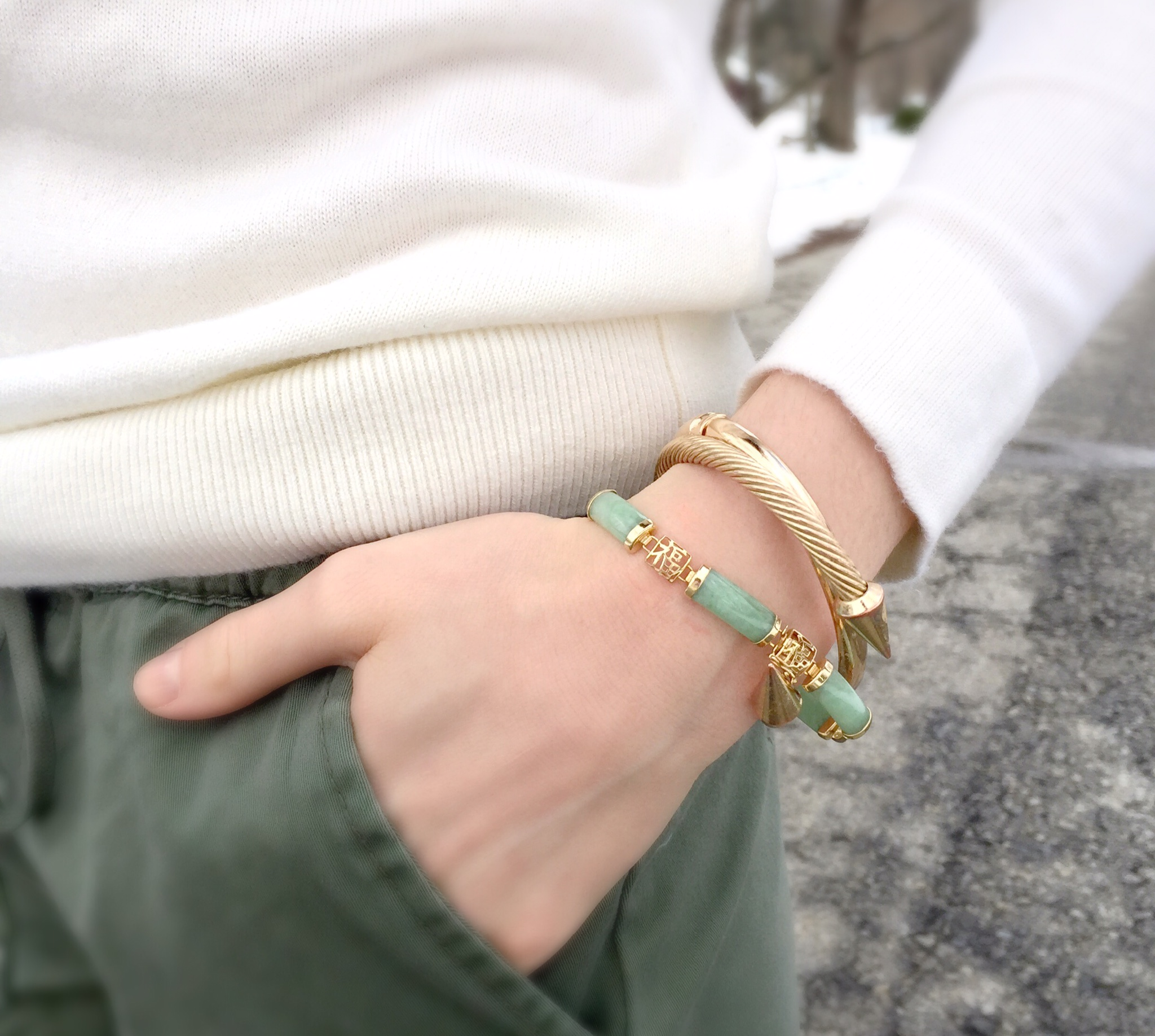 jade and gold arm party | stacked bracelets