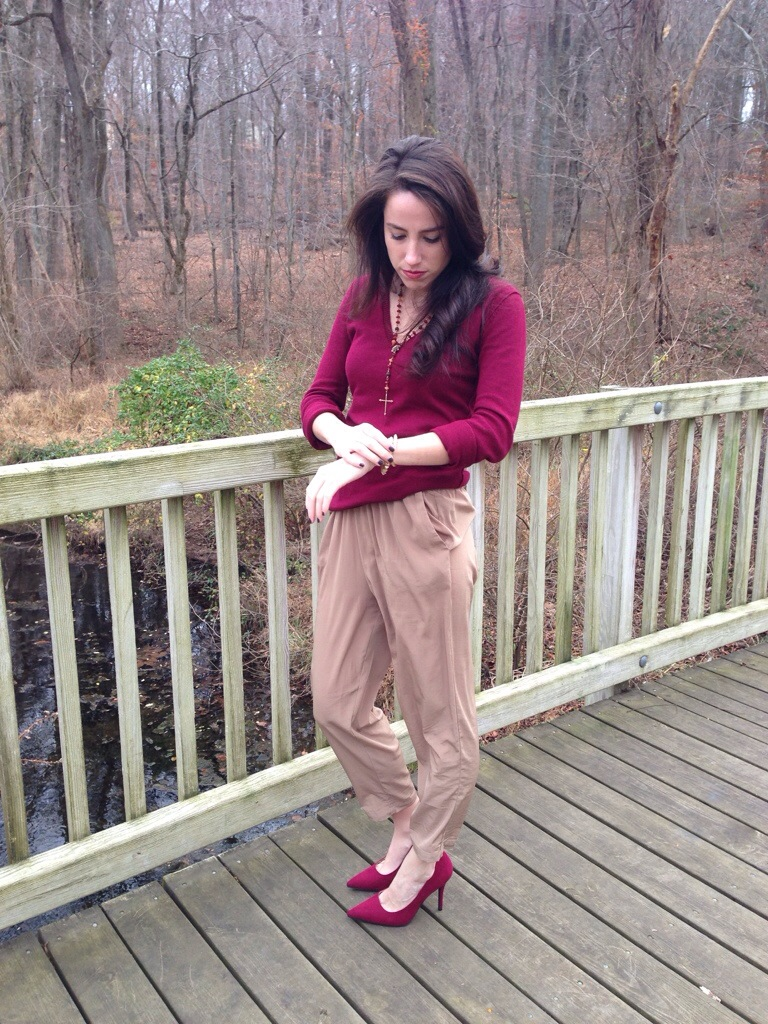 Thanksgiving Outfit Idea - Cranberry & Tans