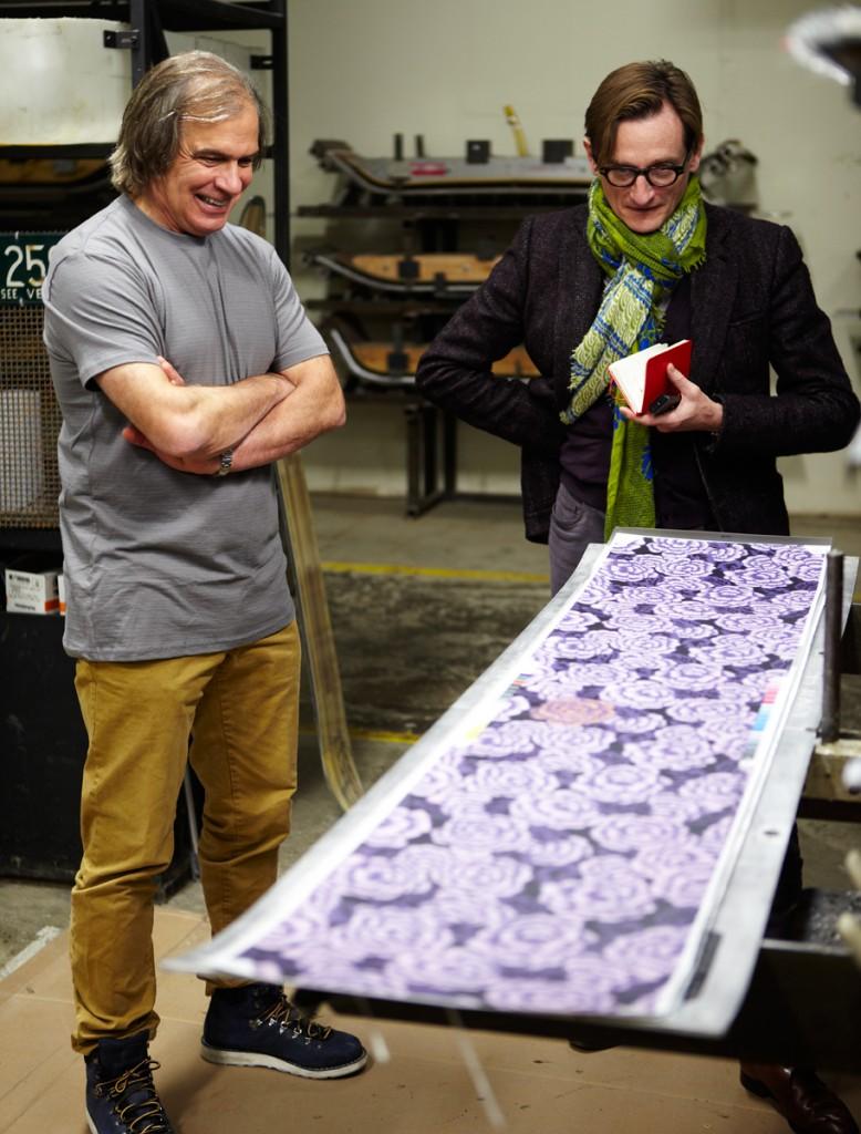 Burton x Vogue 2014 Custom Board - WJake Burton and Hamish admiring Tom Ford flower print