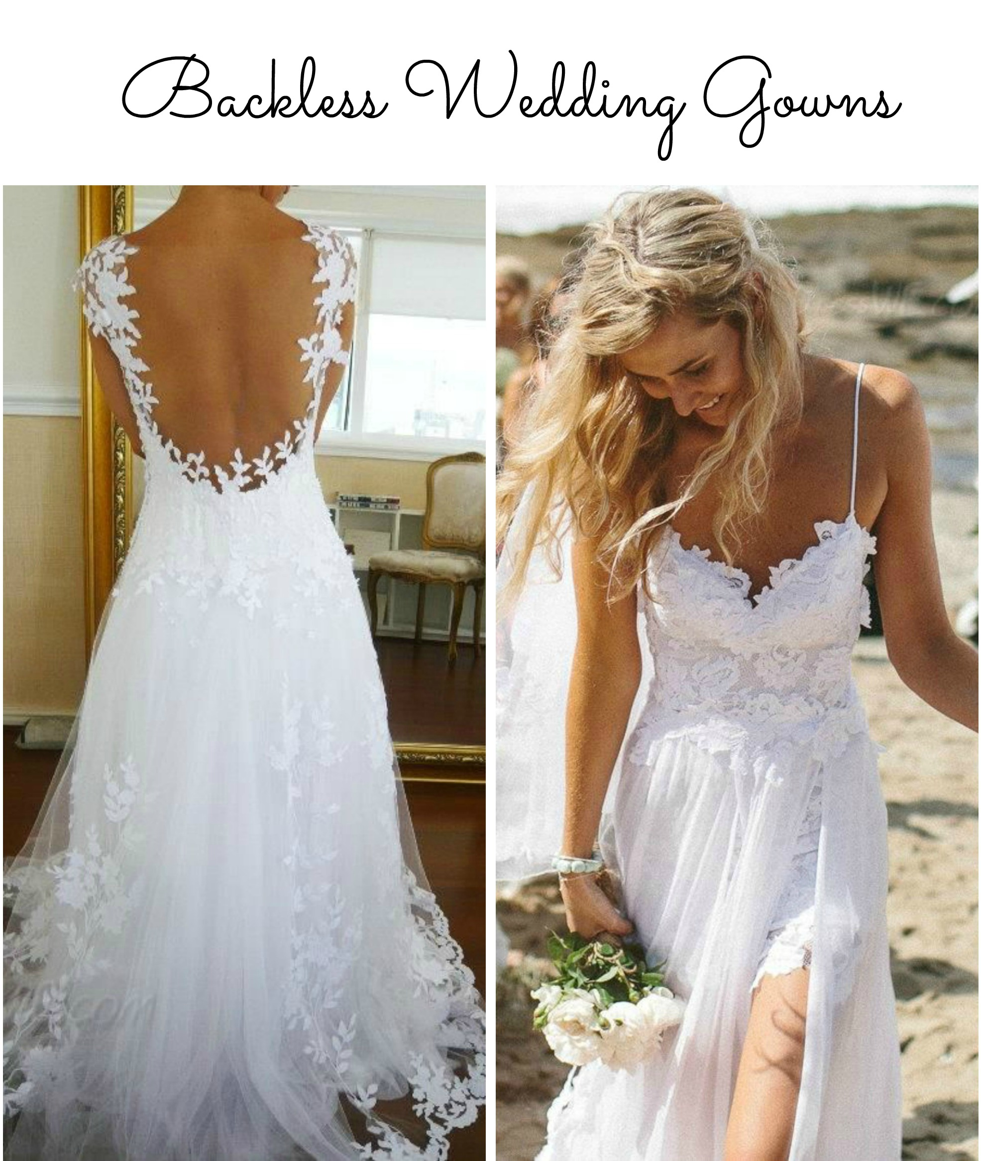 Form Fitting Backless Wedding Dresses