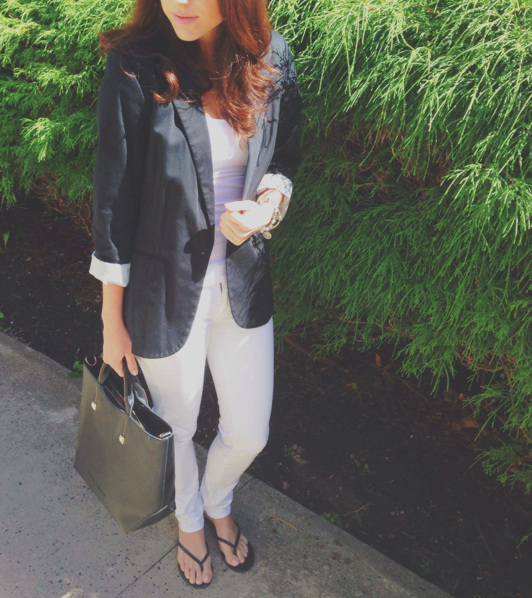 a chic black & white outfit