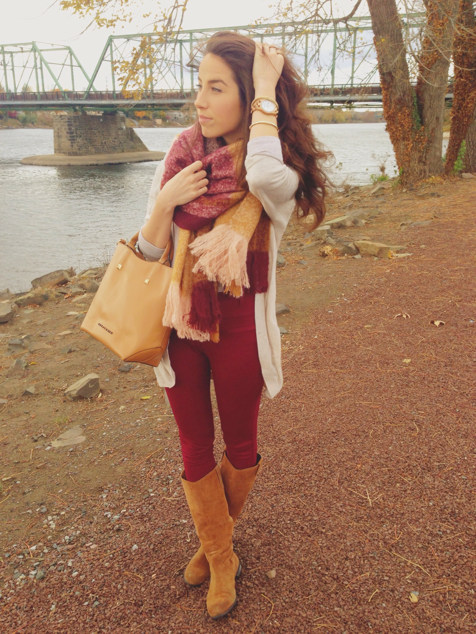 a fall plaid blanket scarf | blush and camel